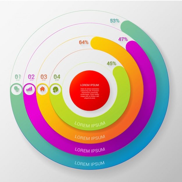 Circular multicolor percent line 4 step indicators infographics vector template. Free Vector