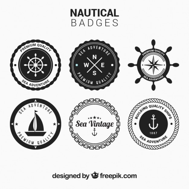 Circular nautical badges set in black and white free vector