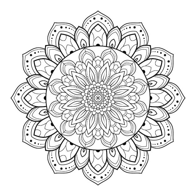 本のページを着色するための円形パターン黒と白の花装飾マンダラアウトライン Premiumベクター