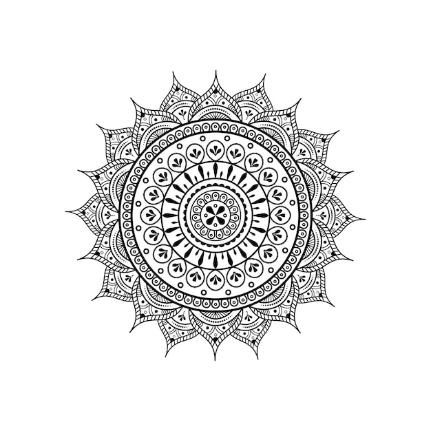 Circular pattern in form of mandala for henna & tattoo decoration Premium Vector