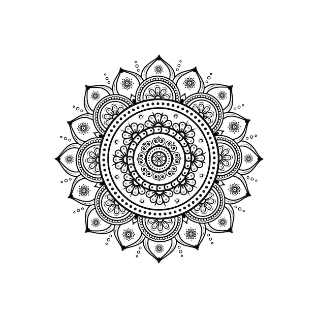 Circular pattern in form of mandala for henna & tattoo decoration Premium Vector