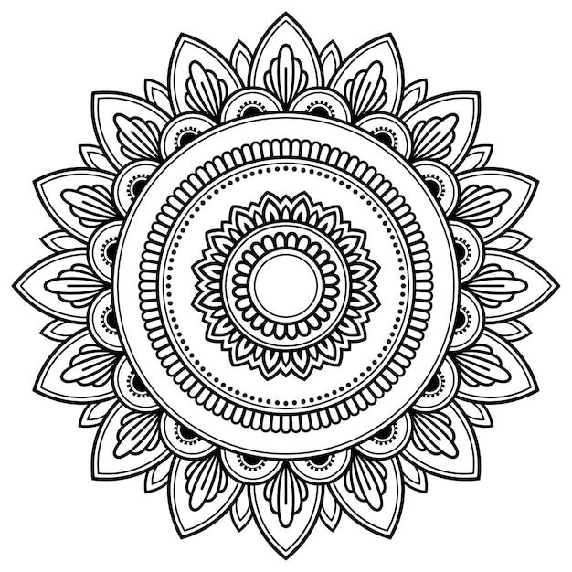 マンダラの形の円形パターン。エスニックオリエンタルスタイルの装飾的なフレーム飾り。 Premiumベクター