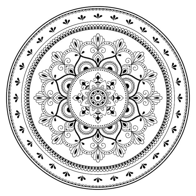マンダラの形の円形パターン。エスニックオリエンタルスタイルの装飾飾り。落書き手描きイラストの概要を説明します。 Premiumベクター