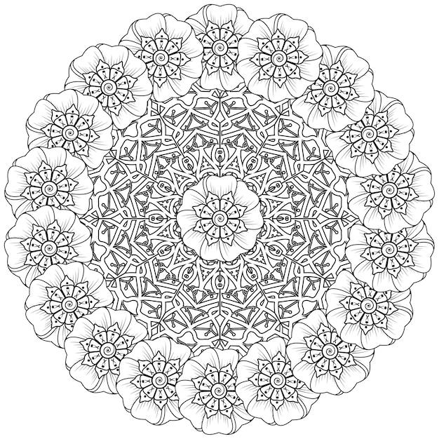Круговой узор в виде мандалы в этническом восточном, индийском стиле. Premium векторы