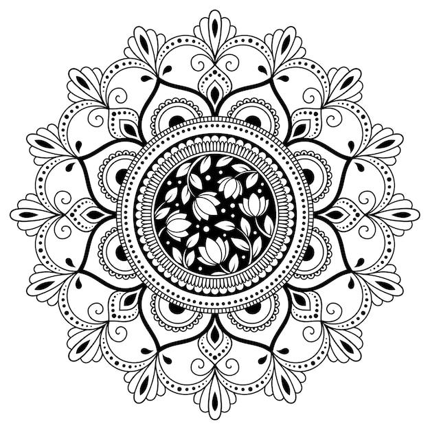 花と曼荼羅の形の円形パターン。エスニックオリエンタルスタイルの装飾飾り。塗り絵のページ。 Premiumベクター