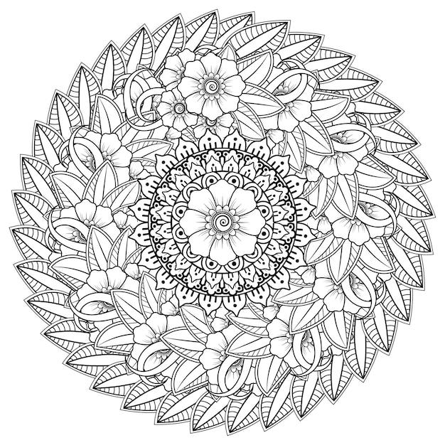 ヘナ一時的な刺青の入れ墨の装飾のための花と曼荼羅の形の円形パターン。エスニックオリエンタルインドスタイルの一時的な刺青の花の装飾。 Premiumベクター