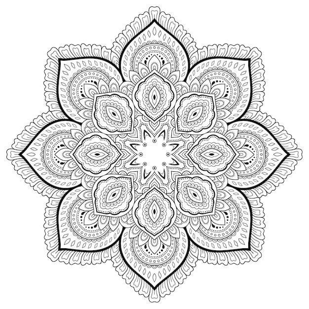マンダラの形をした円形のパターン。一時的な刺青スタイル。塗り絵のページ。 Premiumベクター