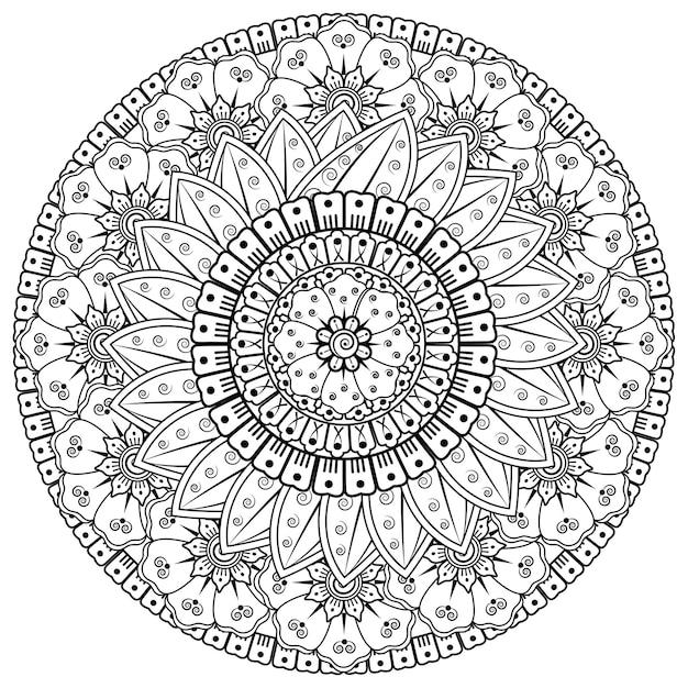 ヘナ、一時的な刺青、入れ墨、装飾のための花と曼荼羅の形の円形パターン。エスニックオリエンタルスタイルの装飾飾り。塗り絵のページ。 Premiumベクター