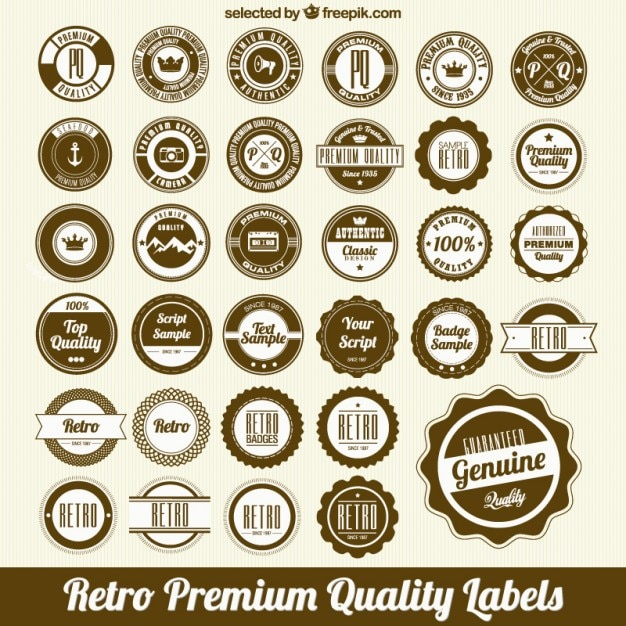 Circular quality label set Free Vector