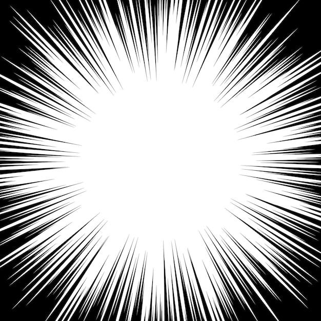 팝 아트 스타일의 원형 방사형 검정 흰색 줄무늬. 방사형 빔. 프리미엄 벡터