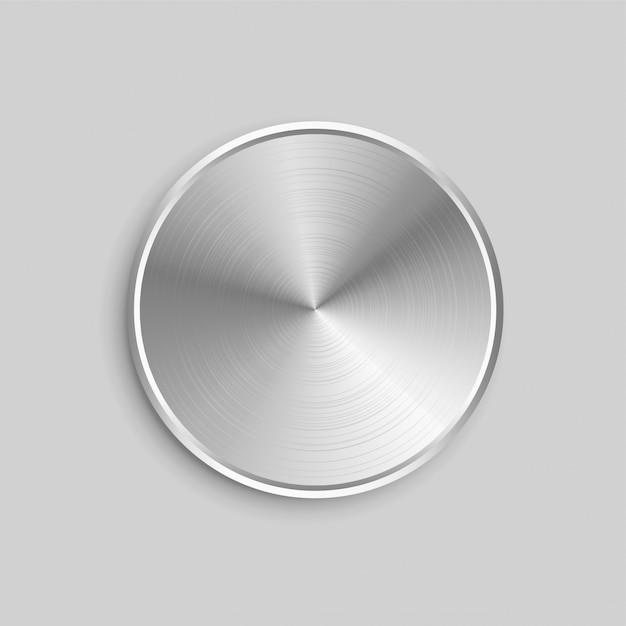 Circular realistic metal button with brushed steel surface Free Vector