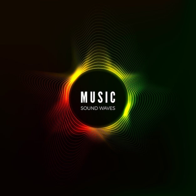 Circular sound wave visualization. abstract music background. color structure audio flow.  illustration Premium Vector