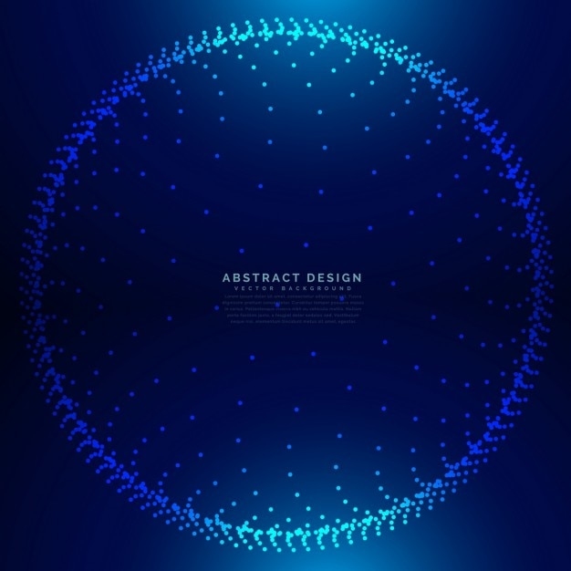 Circular technological background with a mesh of dots Free Vector