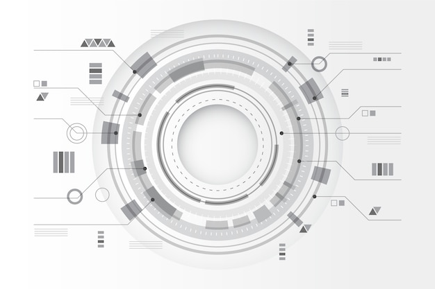 Circular technology lines white background Free Vector