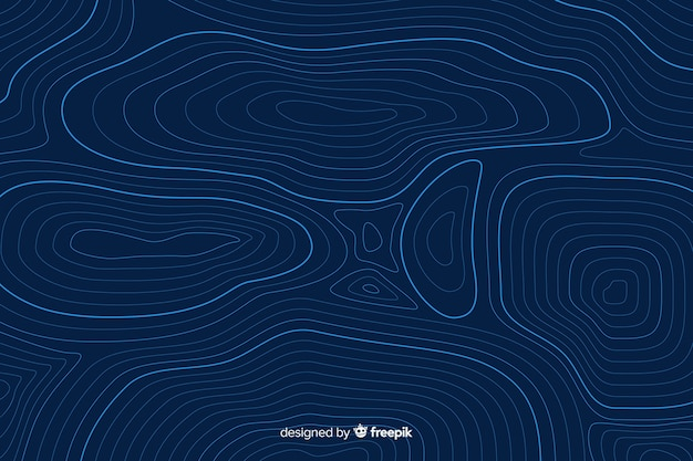 Circular topographic lines on blue background Free Vector