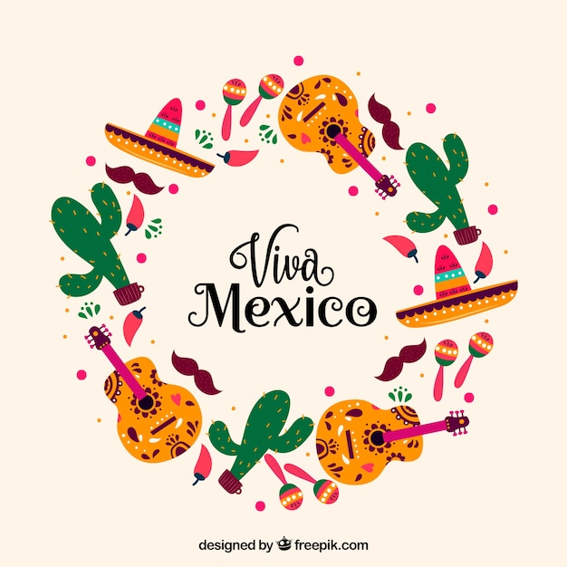 Circular viva mexico lettering background Free Vector