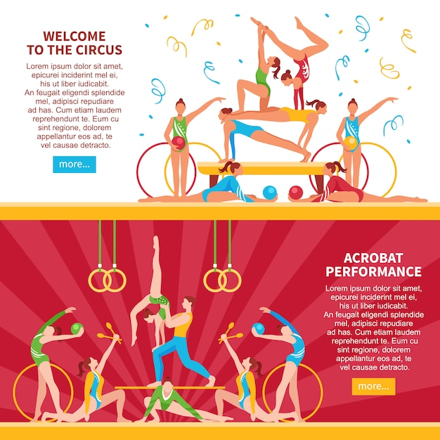 Circus acrobats flat banners Free Vector
