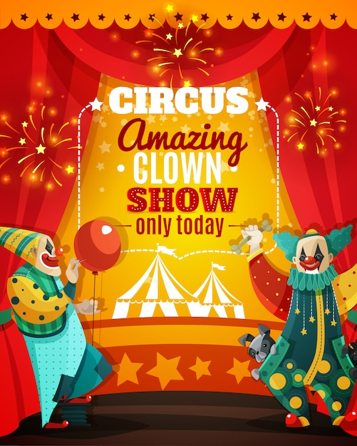 Circus amazing clown show announcement poster Free Vector