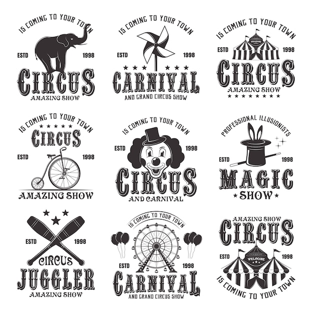Цирк удивительный набор черных эмблем, этикеток, логотипов и типографских марок в винтажном стиле на белом фоне Premium векторы