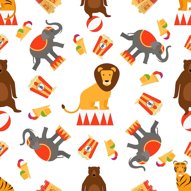 Circus animals and food seamless pattern Premium Vector