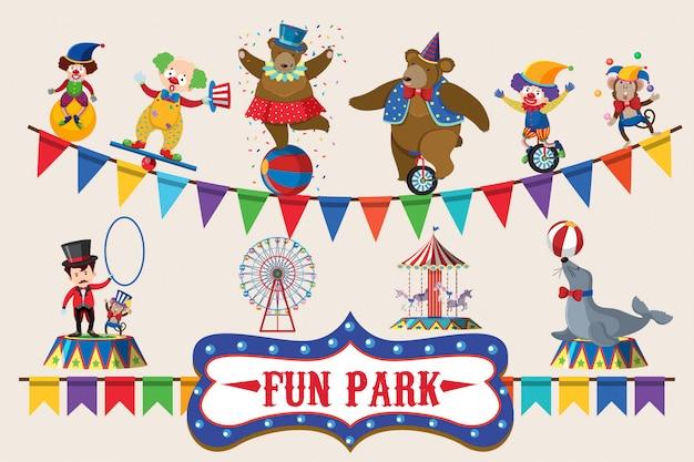 Circus animals on poster design Premium Vector
