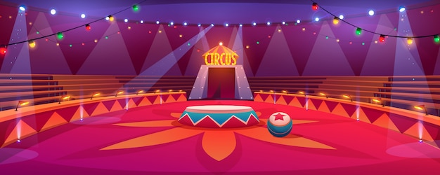Circus arena classic round stage under tent dome illustration Free Vector