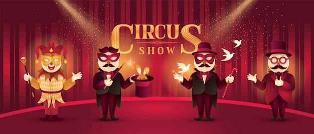 Circus artists actors show set, magic show and magician trick Premium Vector