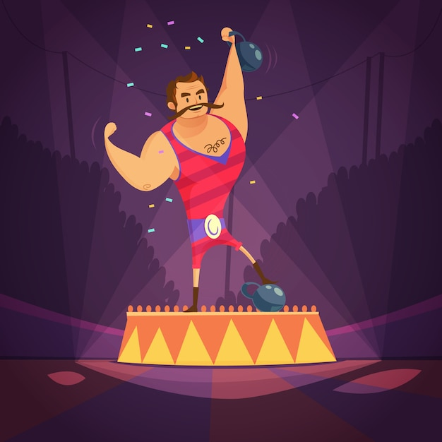 Circus athlete cartoon concept Free Vector