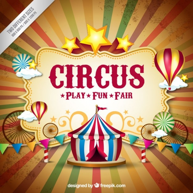 Circus backgorund in vintage style Free Vector