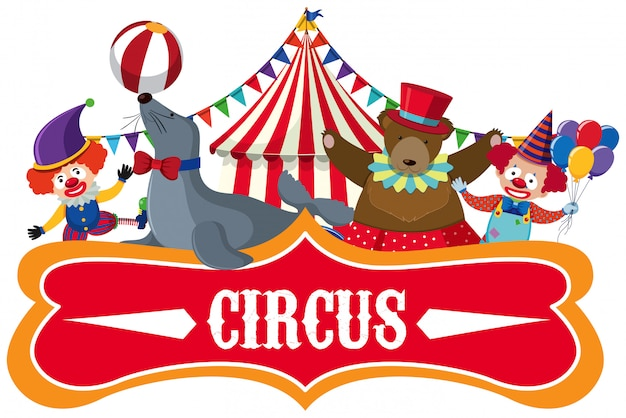 Знак цирка на белом фоне Premium векторы