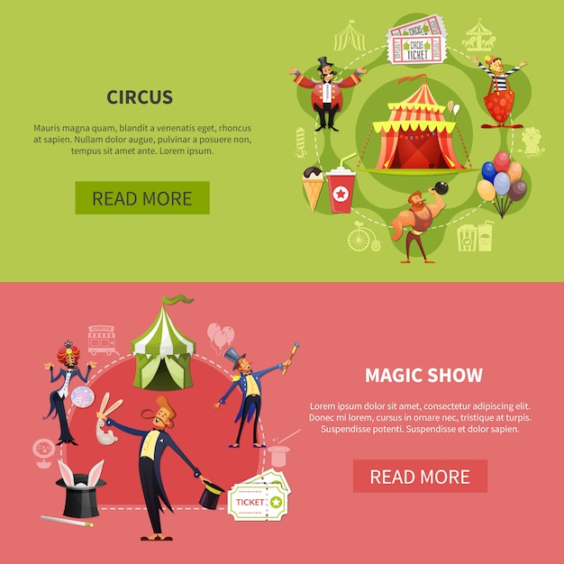 Circus banner set Free Vector