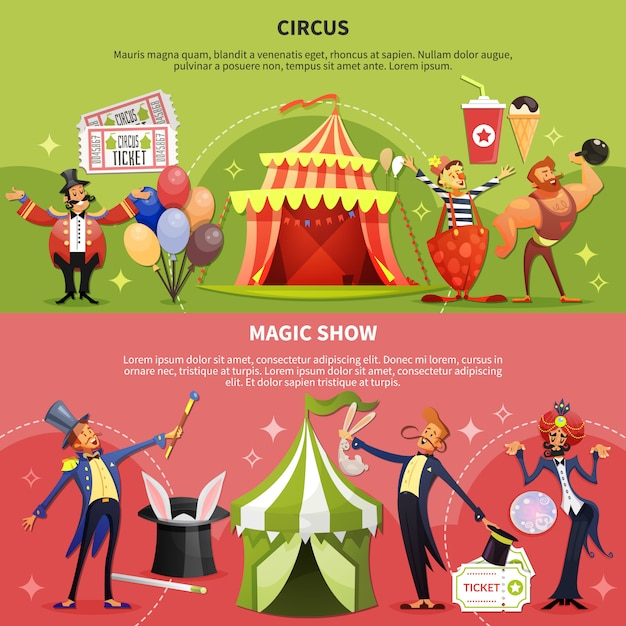 Circus banner set Free Vector