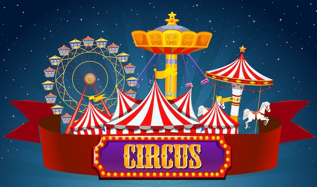 A circus banner on sky Free Vector