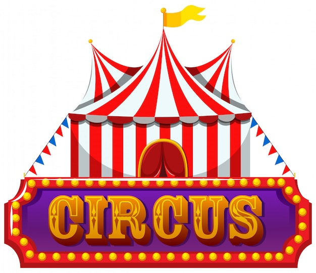 A circus banner on white background Free Vector