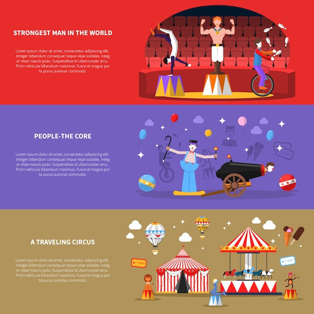 Circus banners set Free Vector