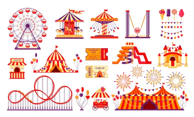 Circus carnival elements set isolated on white background. amusement park collection with fun fair, carousel, ferris wheel, tent, roller coaster, balloons, tickets. Premium Vector