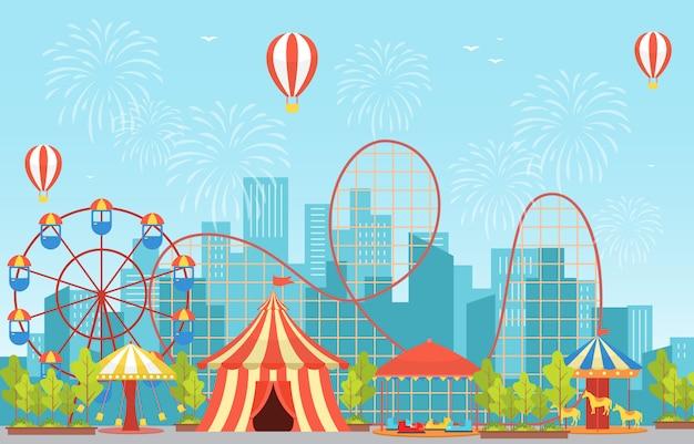 Circus carnival festival fun fair with firework landscape Premium Vector