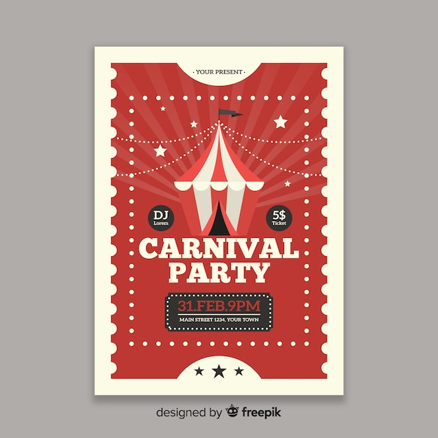 Circus carnival party poster Free Vector