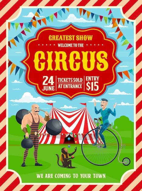 Circus or carnival top tent, acrobat, strongman Premium Vector