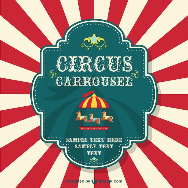 Circus carrousel poster with red sunburst Free Vector
