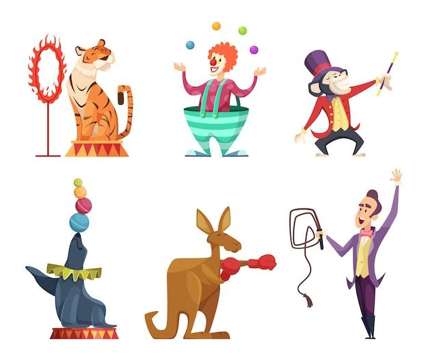 Цирковые герои мультфильмов. векторные талисманы изолят Premium векторы