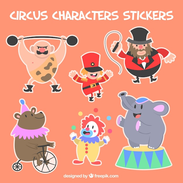 circus character stickers vector free download