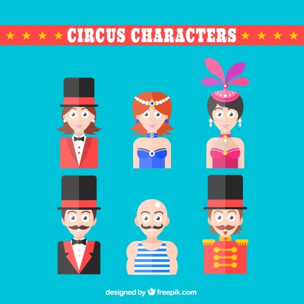Flat Design Character Download : Circus characters in flat design vector free download