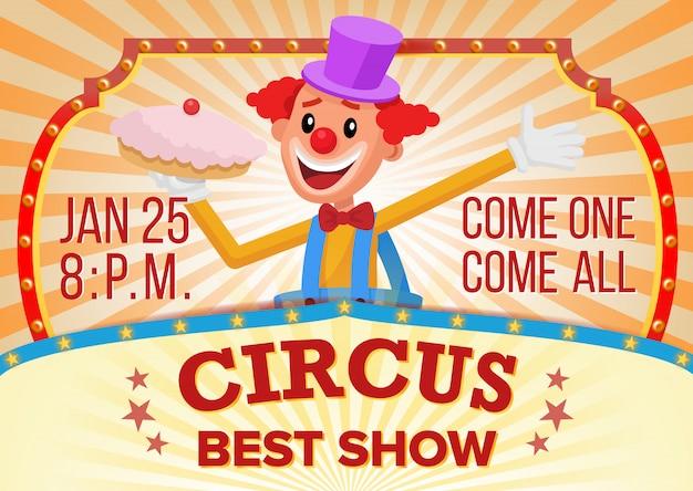 Circus clown banner blank. Premium Vector