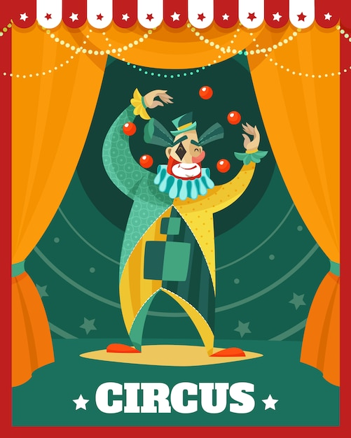 Circus clown juggling performance poster Free Vector