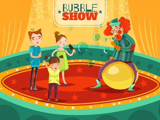Circus clown performance bubble show poster Free Vector