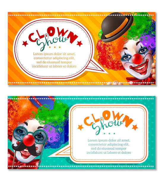 Circus clown show 2 horizontal banners Free Vector