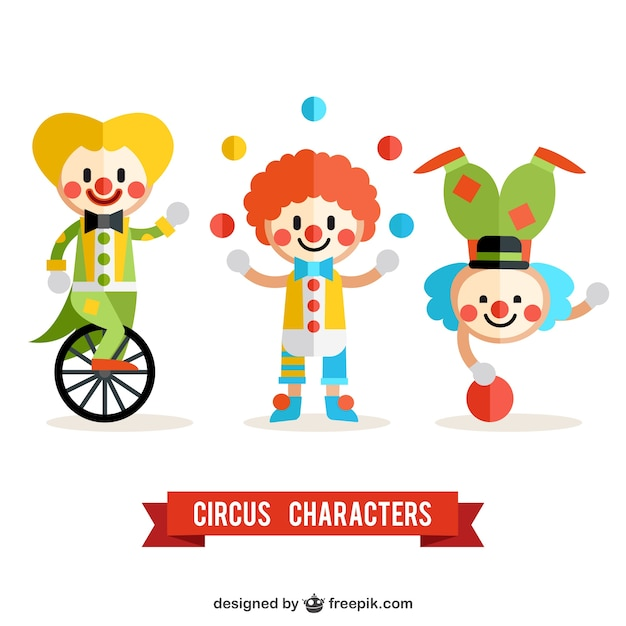 Circus clowns pack Free Vector