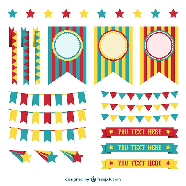 Circus decorations graphic elements Free Vector