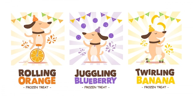 Circus dog with fruits Premium Vector